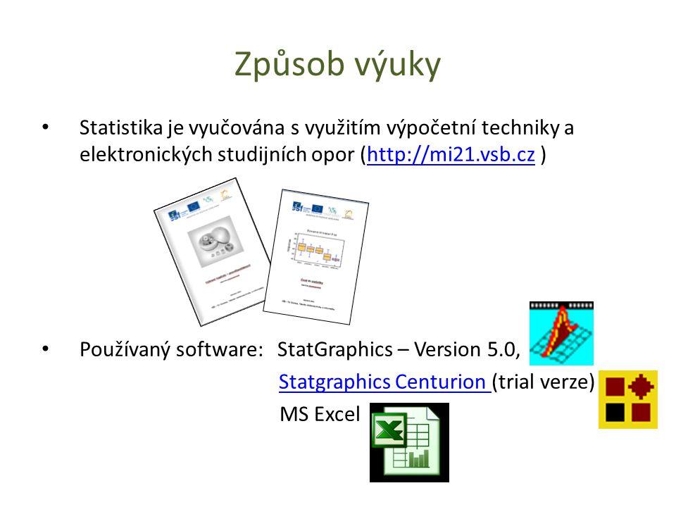 Způsob výuky Statistika je vyučována s využitím výpočetní techniky a elektronických studijních opor (http://mi21.vsb.cz )