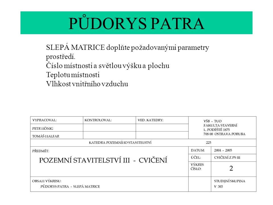 PŮDORYS PATRA SLEPÁ MATRICE doplňte požadovanými parametry prostředí.