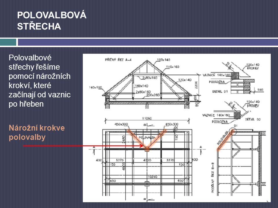POLOVALBOVÁ STŘECHA Polovalbové střechy řešíme pomocí nárožních krokví, které začínají od vaznic po hřeben - Nárožní krokve polovalby
