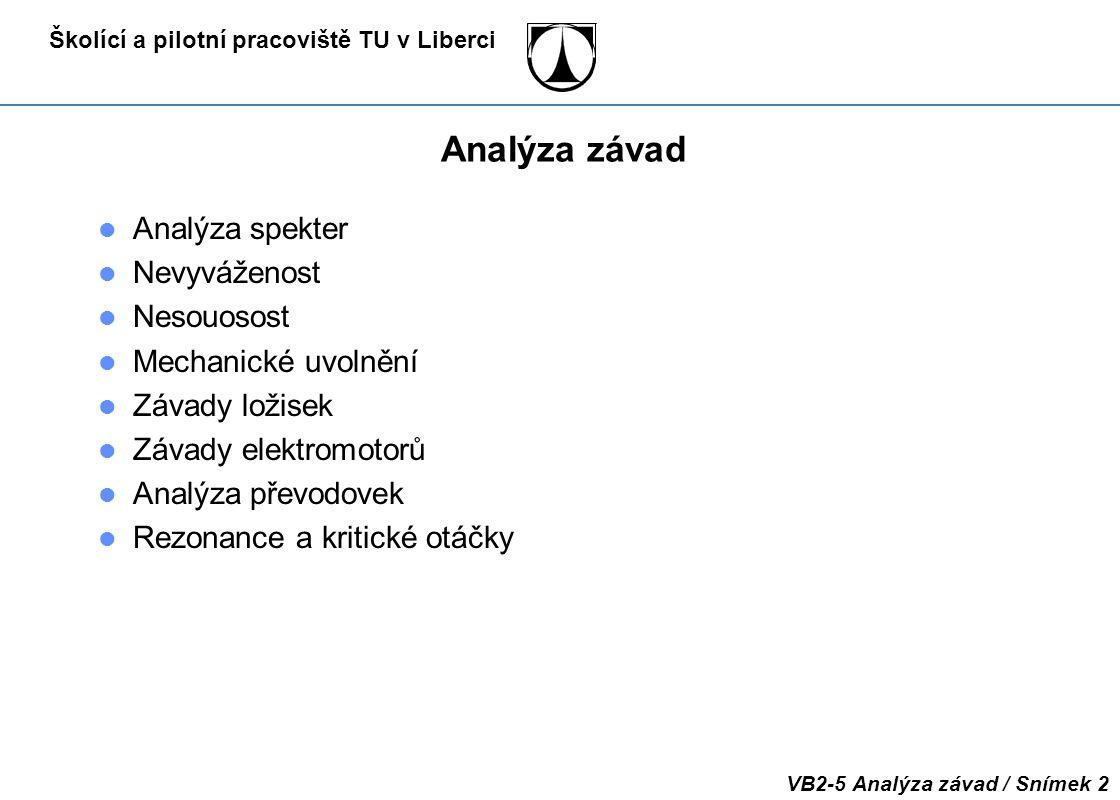 Analýza závad Analýza spekter Nevyváženost Nesouosost