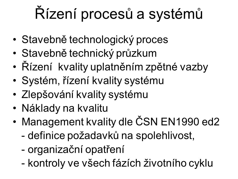 Řízení procesů a systémů