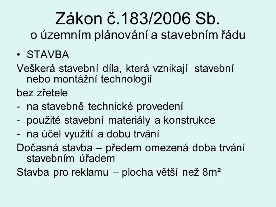 Zákon č.183/2006 Sb. o územním plánování a stavebním řádu