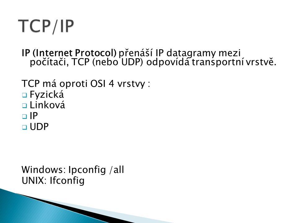 TCP/IP IP (Internet Protocol) přenáší IP datagramy mezi počítači, TCP (nebo UDP) odpovídá transportní vrstvě.