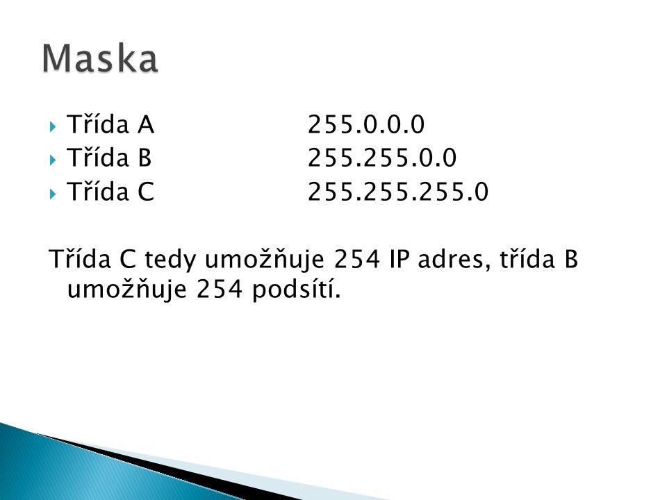 Maska Třída A 255.0.0.0 Třída B 255.255.0.0 Třída C 255.255.255.0