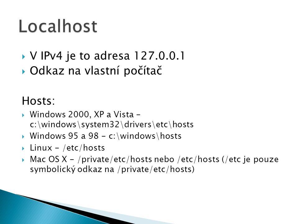 Localhost V IPv4 je to adresa 127.0.0.1 Odkaz na vlastní počítač