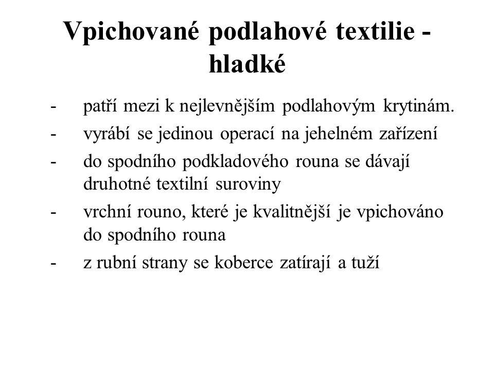 Vpichované podlahové textilie - hladké