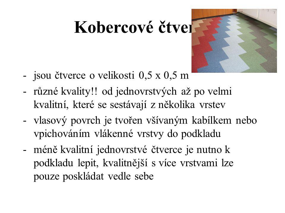 Kobercové čtverce jsou čtverce o velikosti 0,5 x 0,5 m