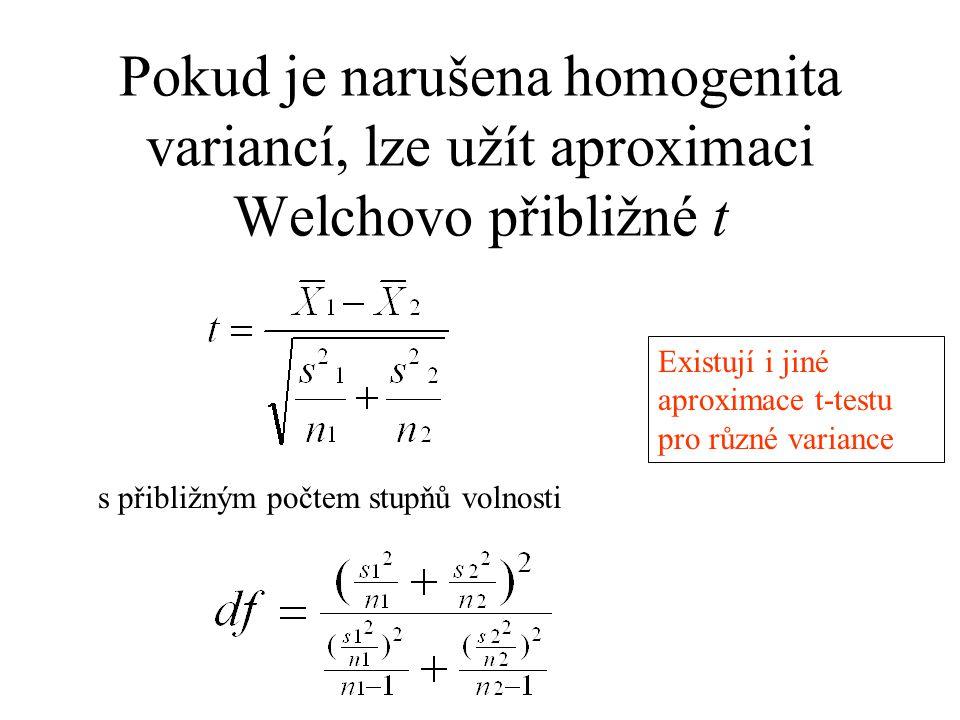 Pokud je narušena homogenita variancí, lze užít aproximaci Welchovo přibližné t