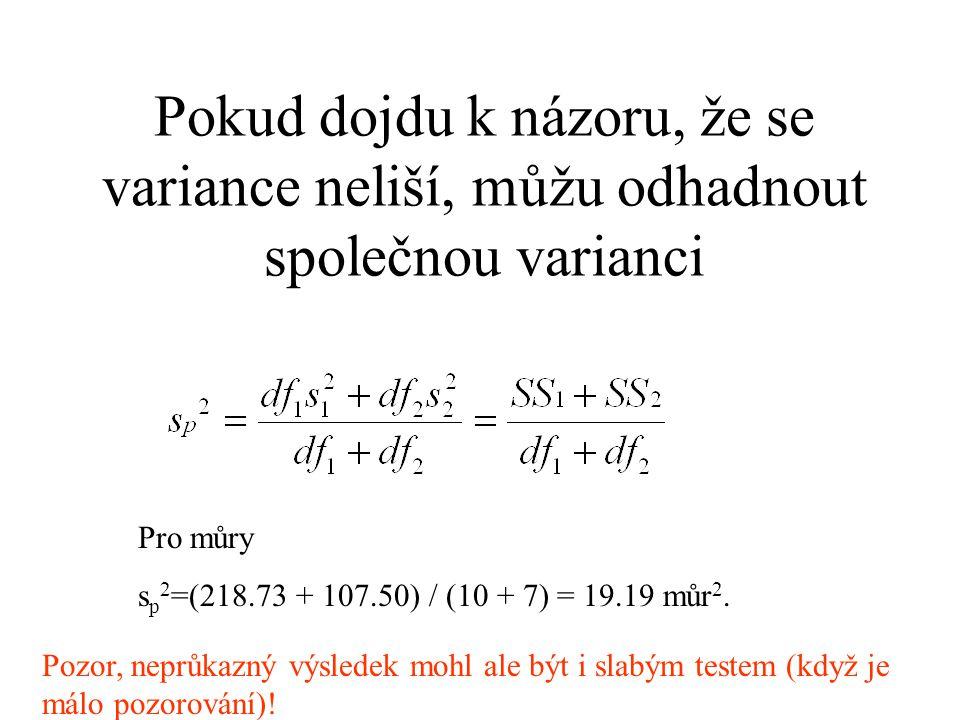 Pokud dojdu k názoru, že se variance neliší, můžu odhadnout společnou varianci
