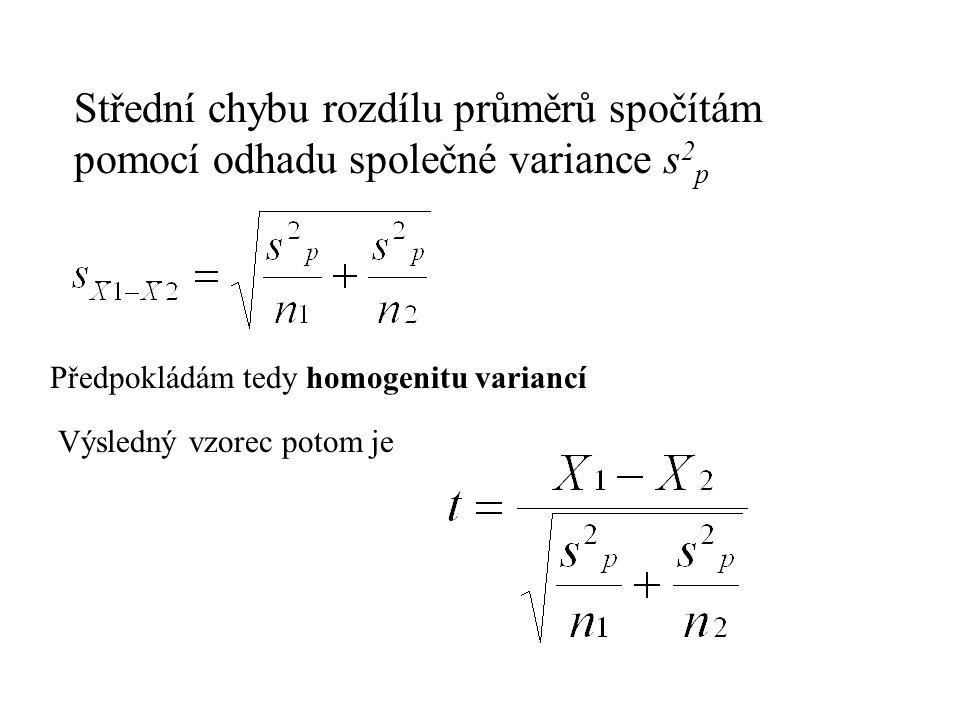 Střední chybu rozdílu průměrů spočítám pomocí odhadu společné variance s2p