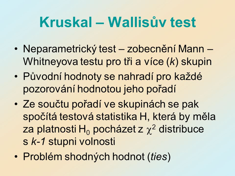 Kruskal – Wallisův test