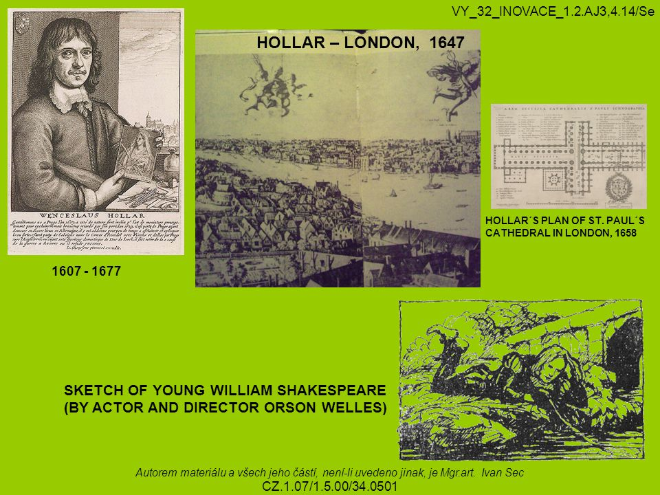 HOLLAR – LONDON, 1647 SKETCH OF YOUNG WILLIAM SHAKESPEARE