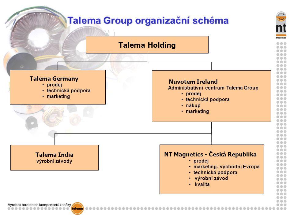 Talema Group organizační schéma NT Magnetics - Česká Republika