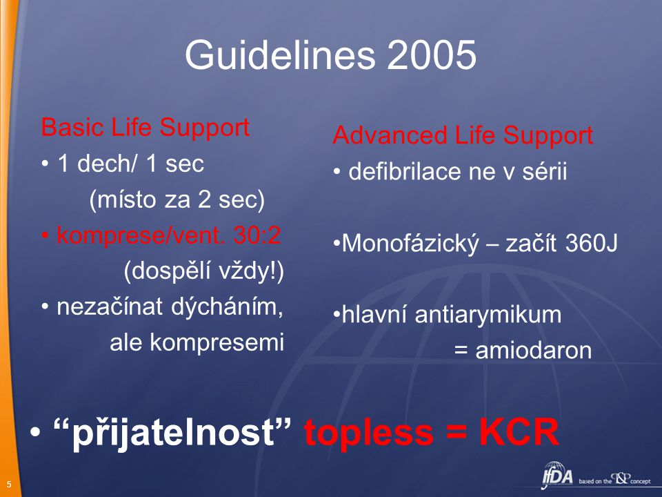 Guidelines 2005 přijatelnost topless = KCR Basic Life Support