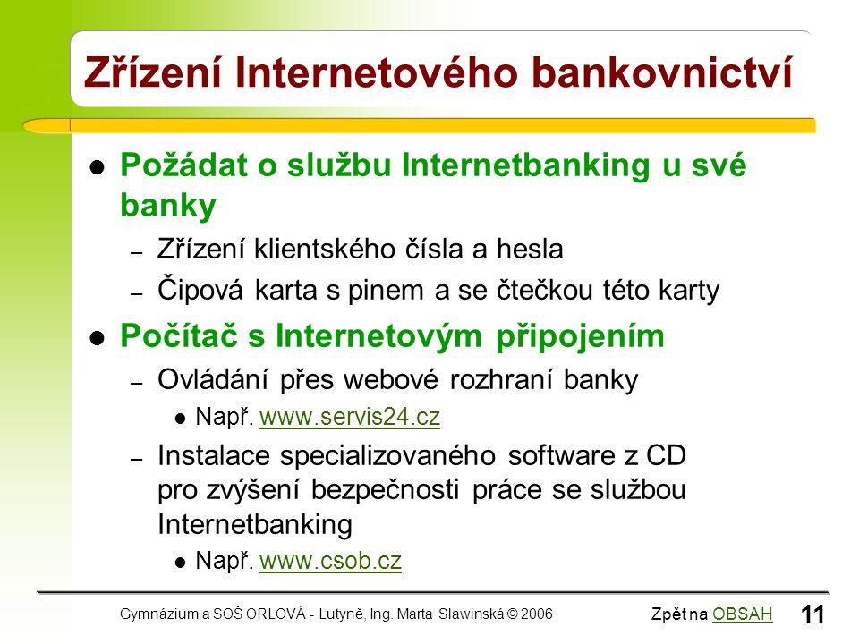 Zřízení Internetového bankovnictví