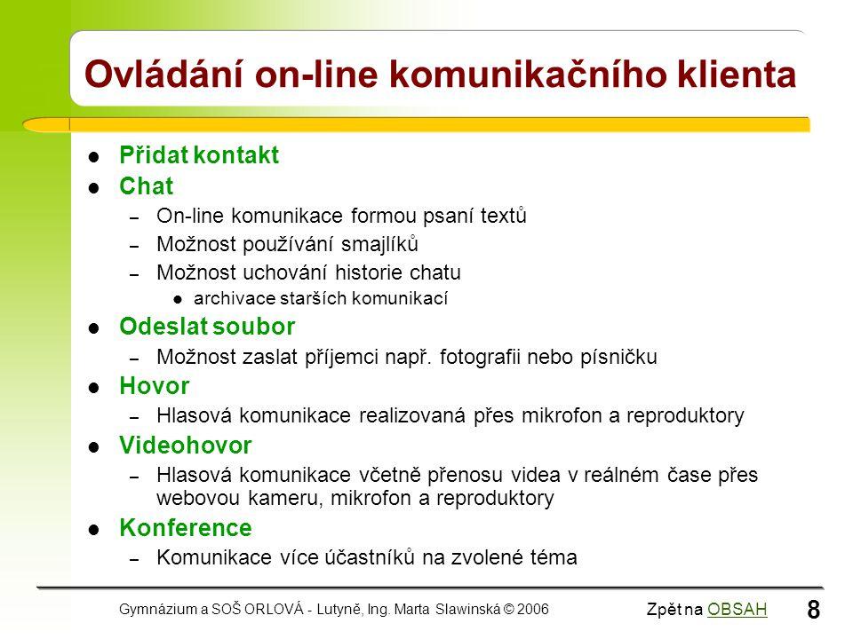 Ovládání on-line komunikačního klienta