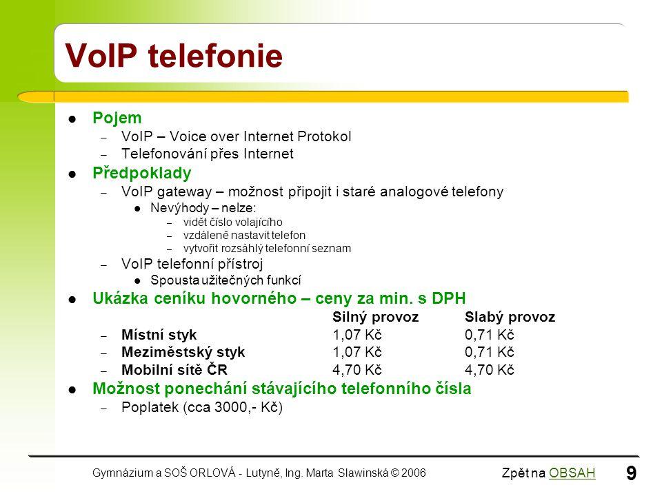VoIP telefonie Pojem Předpoklady