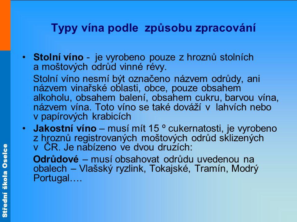 Typy vína podle způsobu zpracování