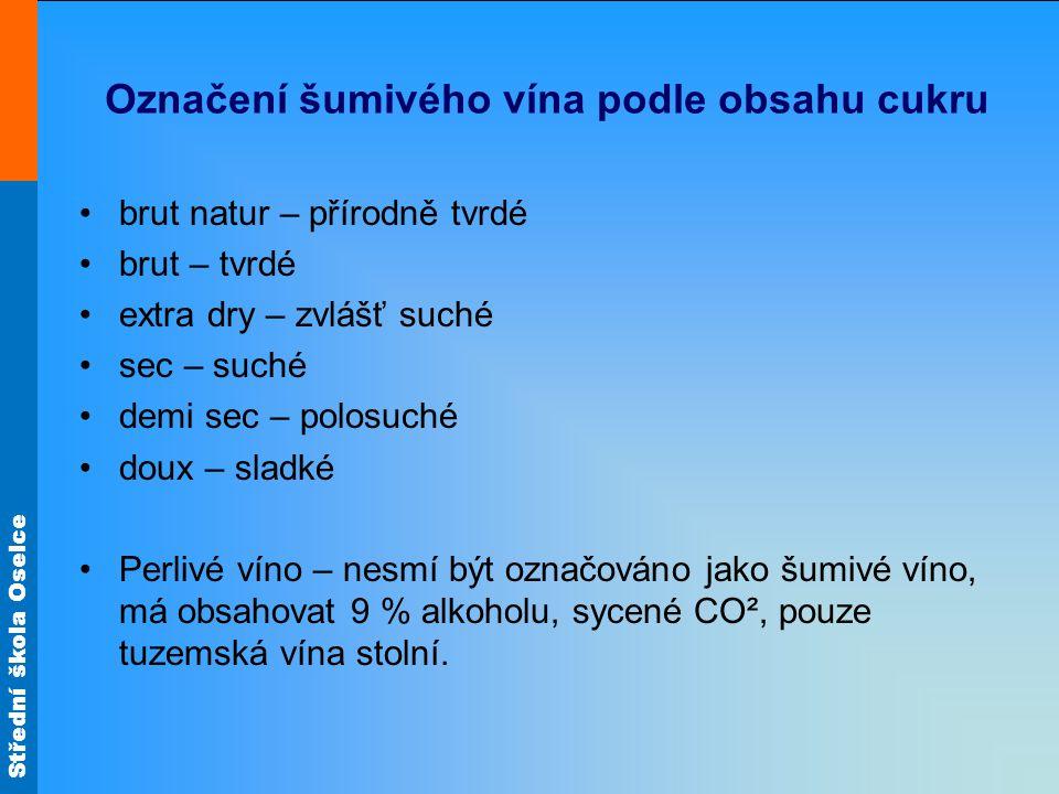 Označení šumivého vína podle obsahu cukru
