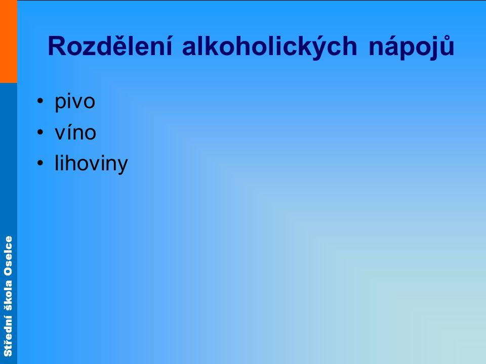 Rozdělení alkoholických nápojů