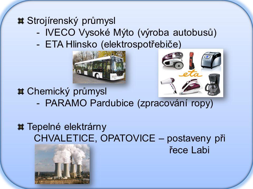 Strojírenský průmysl - IVECO Vysoké Mýto (výroba autobusů) - ETA Hlinsko (elektrospotřebiče) Chemický průmysl.