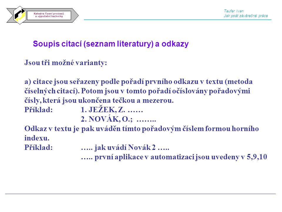 Soupis citací (seznam literatury) a odkazy