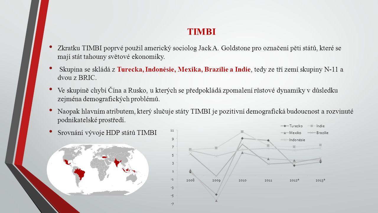 TIMBI Zkratku TIMBI poprvé použil americký sociolog Jack A. Goldstone pro označení pěti států, které se mají stát tahouny světové ekonomiky.