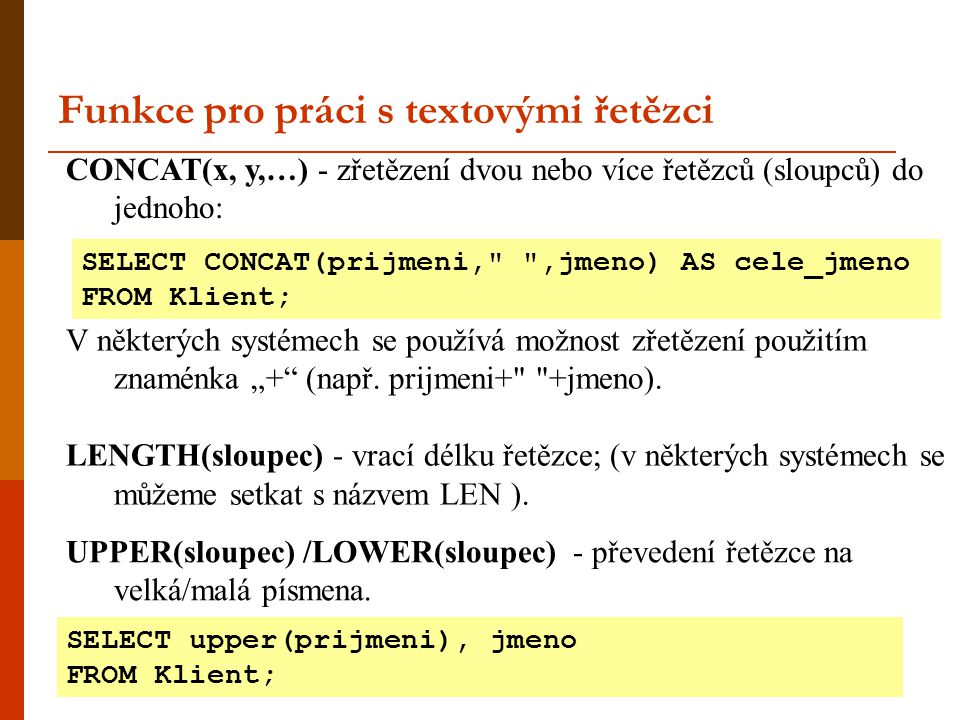 Funkce pro práci s textovými řetězci