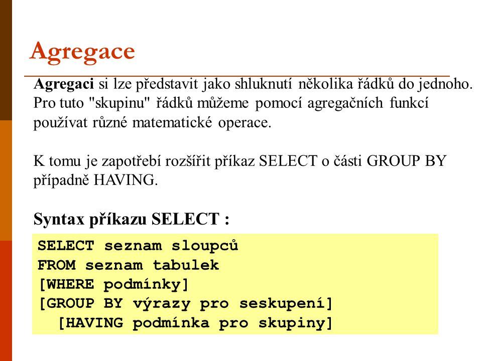 Agregace Syntax příkazu SELECT :