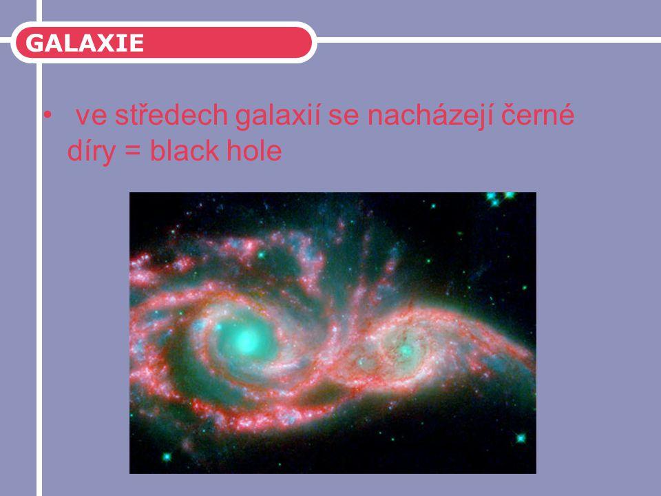 ve středech galaxií se nacházejí černé díry = black hole
