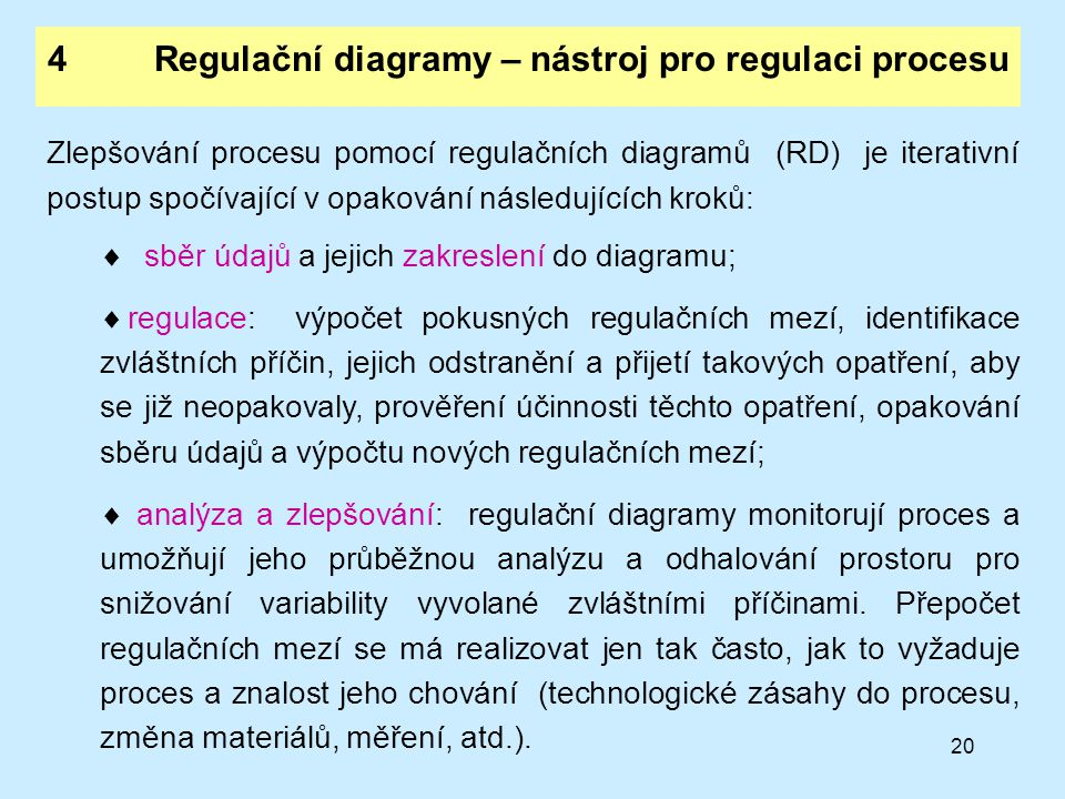 4 Regulační diagramy – nástroj pro regulaci procesu
