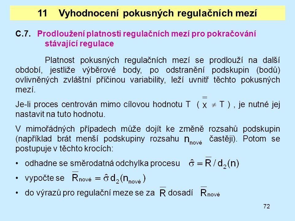 11 Vyhodnocení pokusných regulačních mezí