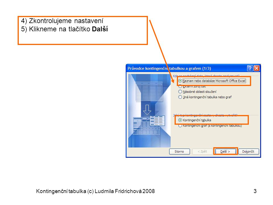 Kontingenční tabulka (c) Ludmila Fridrichová 2008