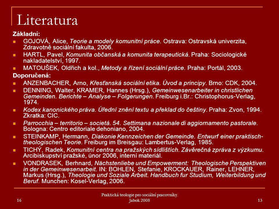 Praktická teologie pro sociální pracovníky. Jabok 2008