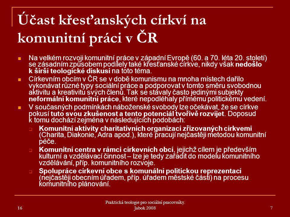 Účast křesťanských církví na komunitní práci v ČR