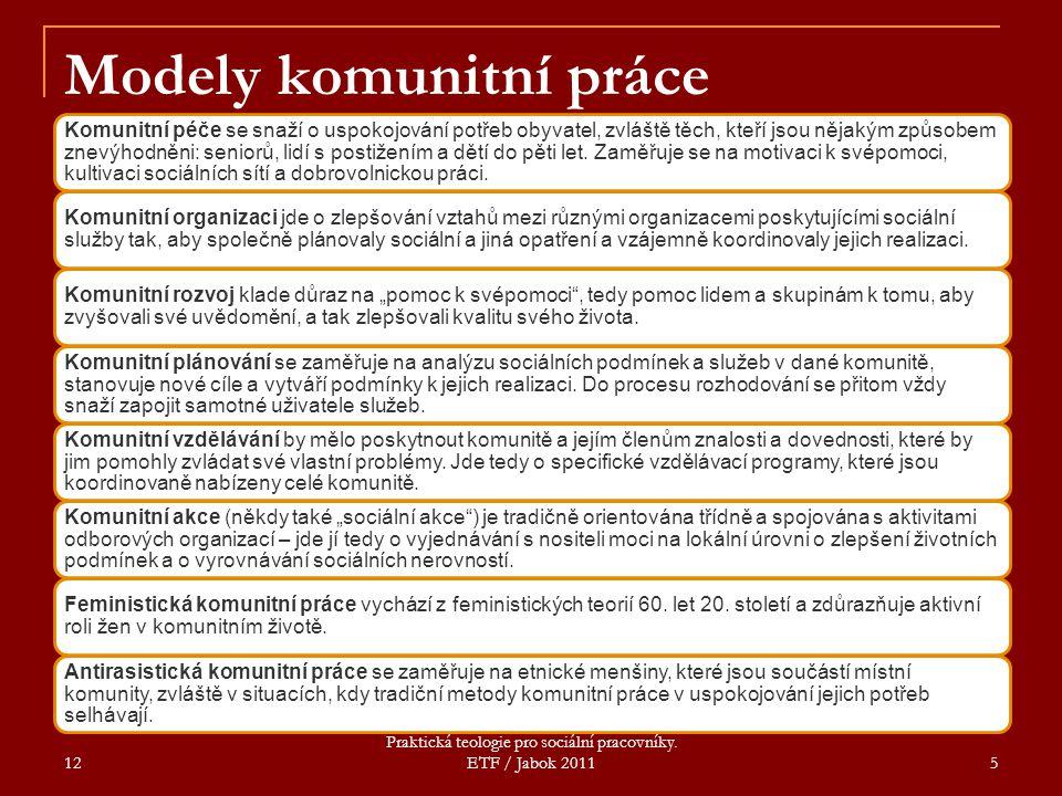 Modely komunitní práce