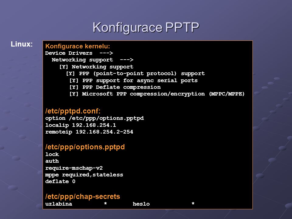 Konfigurace PPTP Linux: /etc/pptpd.conf: /etc/ppp/options.pptpd