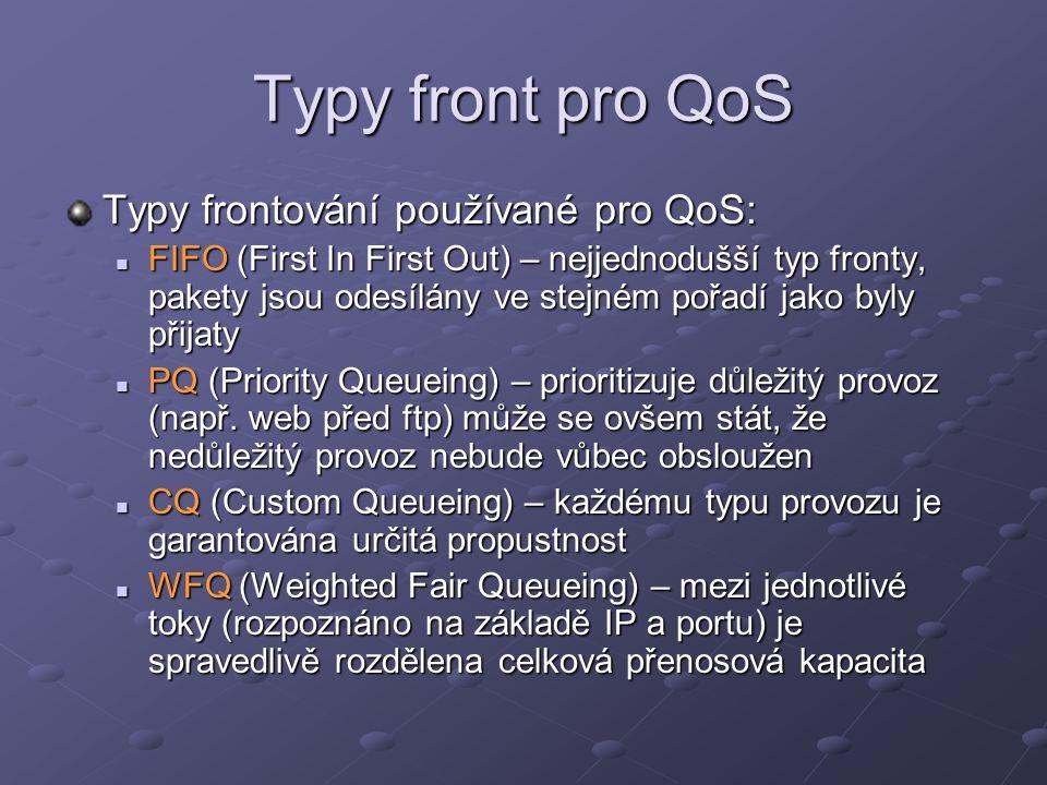 Typy front pro QoS Typy frontování používané pro QoS: