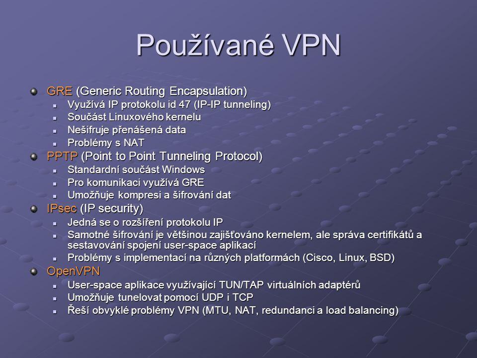 Používané VPN GRE (Generic Routing Encapsulation)