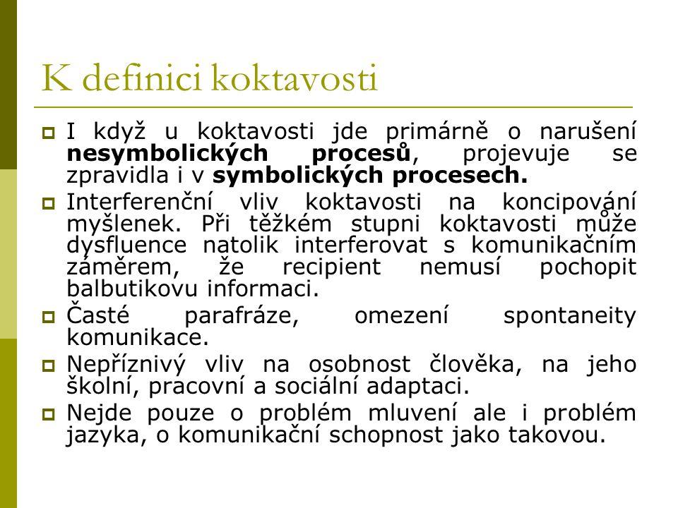 K definici koktavosti I když u koktavosti jde primárně o narušení nesymbolických procesů, projevuje se zpravidla i v symbolických procesech.