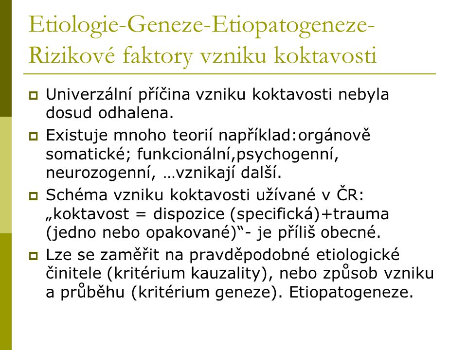 Etiologie-Geneze-Etiopatogeneze-Rizikové faktory vzniku koktavosti