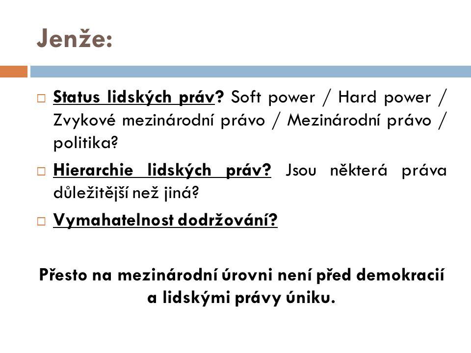 Jenže: Status lidských práv Soft power / Hard power / Zvykové mezinárodní právo / Mezinárodní právo / politika