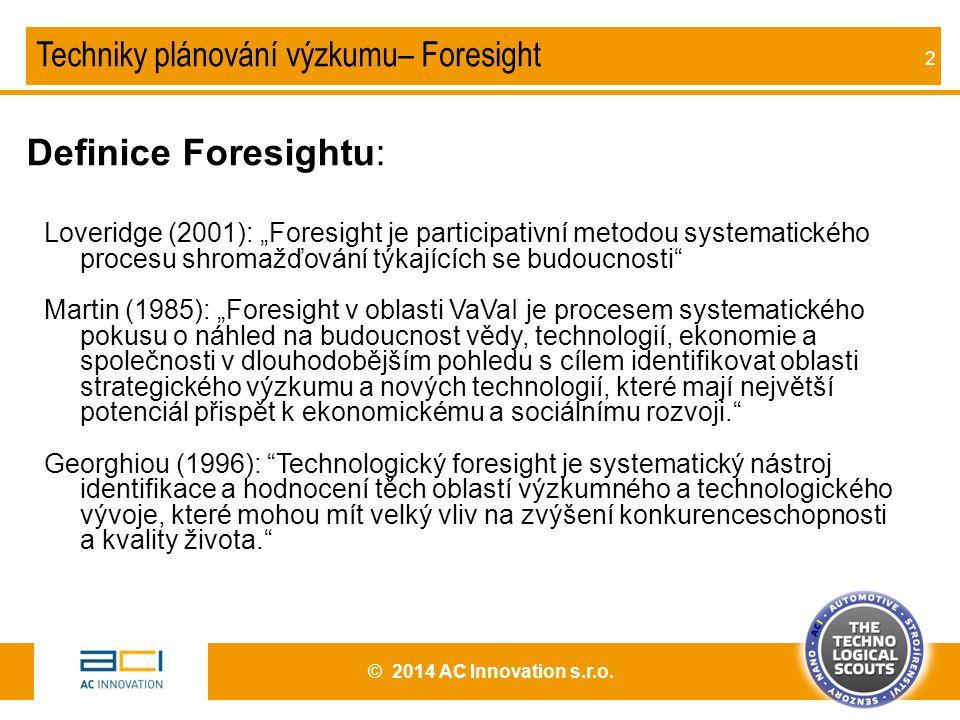 Definice Foresightu: Techniky plánování výzkumu– Foresight