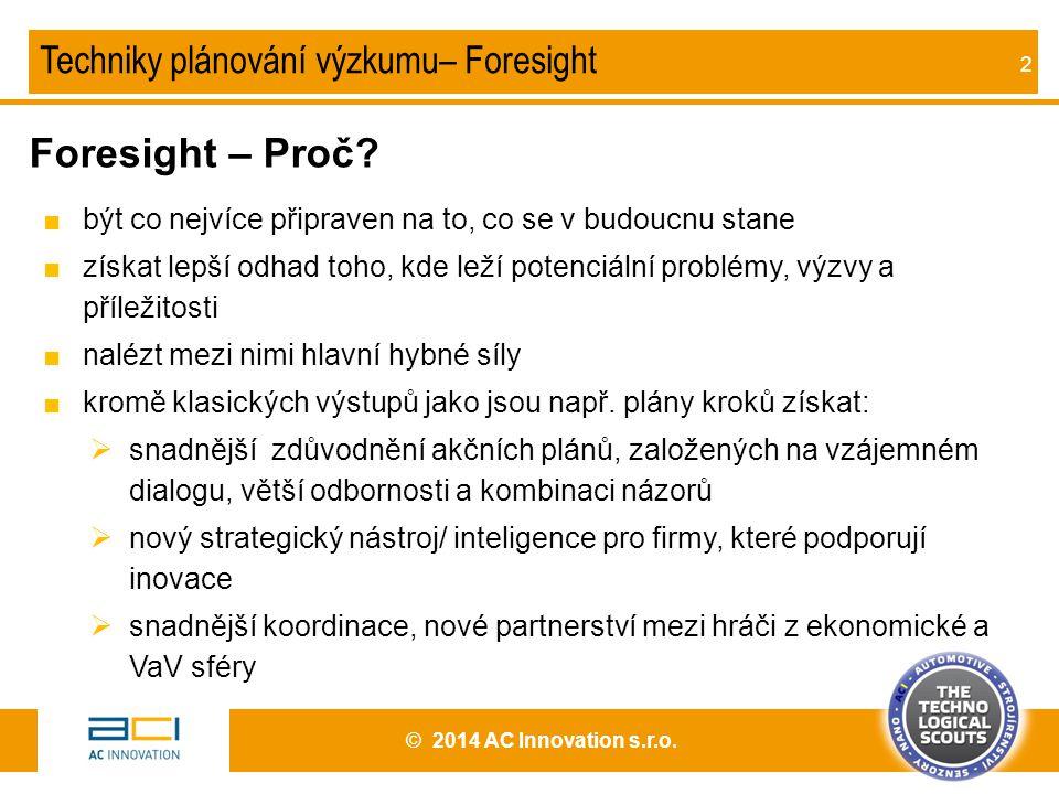 Foresight – Proč Techniky plánování výzkumu– Foresight