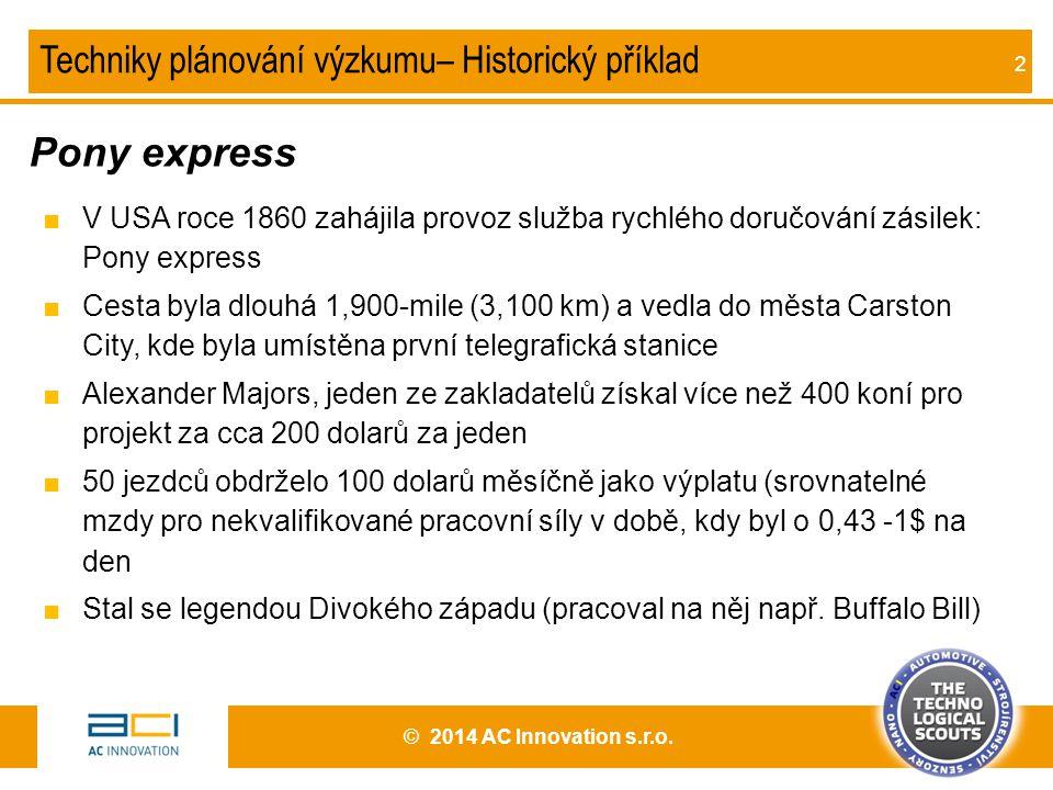 Pony express Techniky plánování výzkumu– Historický příklad
