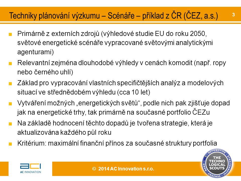 Techniky plánování výzkumu – Scénáře – příklad z ČR (ČEZ, a.s.)