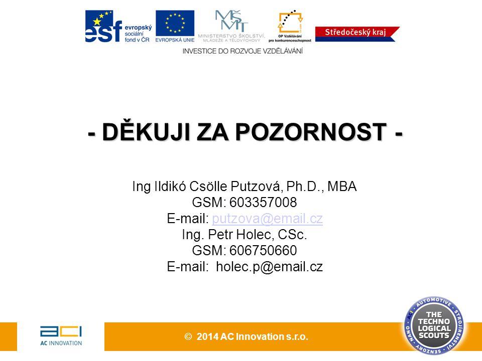 - DĚKUJI ZA POZORNOST - Ing Ildikó Csölle Putzová, Ph.D., MBA