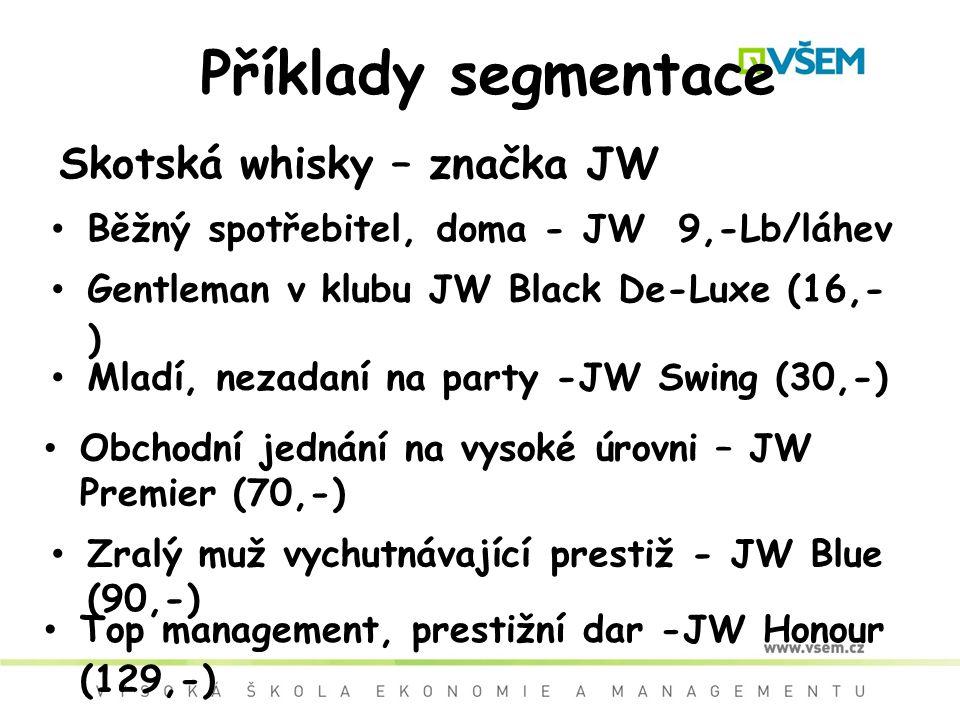 Příklady segmentace Skotská whisky – značka JW