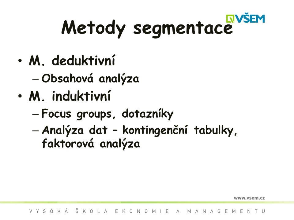 Metody segmentace M. deduktivní M. induktivní Obsahová analýza