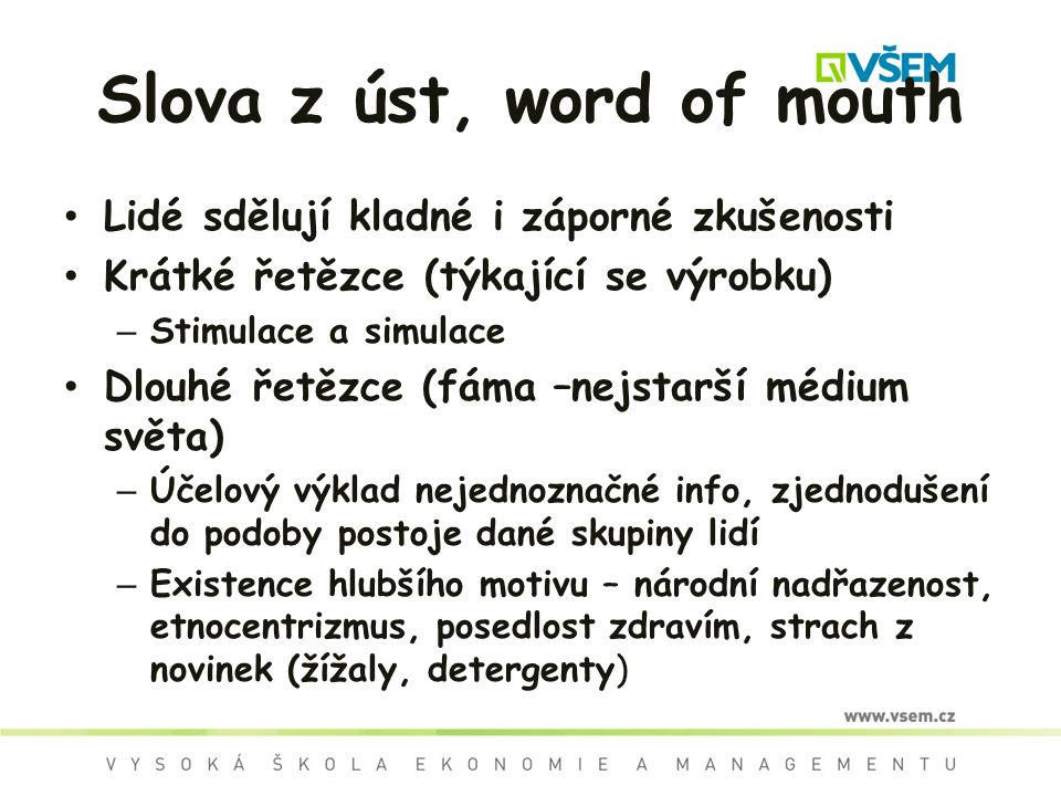 Slova z úst, word of mouth